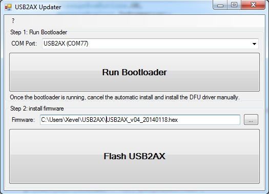 product:usb2ax:firmware_update [Xevelabs Product Documentation]